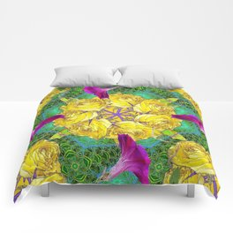 MYSTIC YELLOW ROSES MORNING GLORIES GREEN ART Comforters