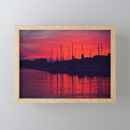 Sky on fire in the old port of Marseille - Fine Arts Travel Photography Framed Mini Art Print