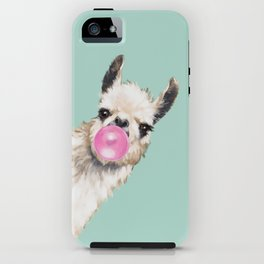 Bubble Gum Sneaky Llama in Green iPhone Case