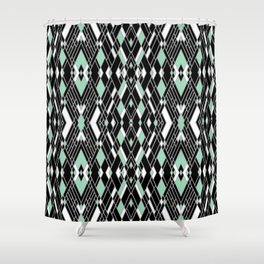 Art Deco Mint Shower Curtain