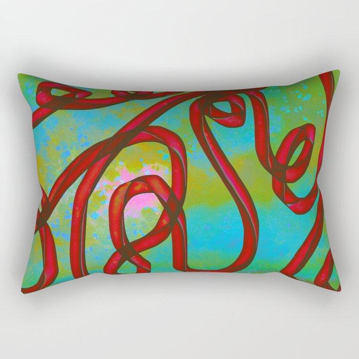 """Galactic Ribbon"" (Cherry/Lime) Digital Painting // Fine Art Print Rectangular Pillow"