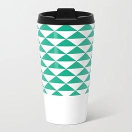 Green Triangle Geometric Pattern Metal Travel Mug