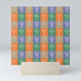 Bright house plants in squares  Mini Art Print