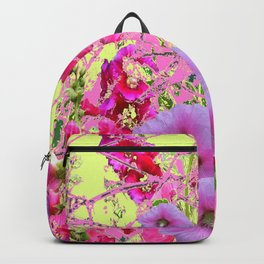 CONTEMPORARY PINK & LILAC HOLLYHOCKS ART Backpack