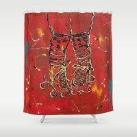 socks Shower Curtains featuring Derby Socks by Robin Lee Artist