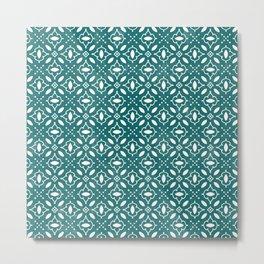 Emerald & White Seamless Pattern Metal Print