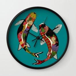koi teal Wall Clock