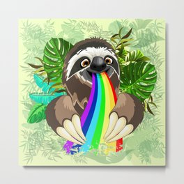 Sloth Spitting Rainbow Colors Metal Print