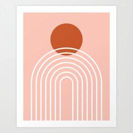 Mid Century Modern Geometric 38 in Terracotta Rose Gold (Rainbow Sun Abstraction) Art Print
