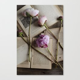 peonies and books Canvas Print