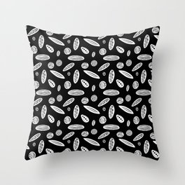 Many Autumn Plant Seeds Pattern in Black Throw Pillow