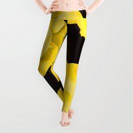 Large Yellow Succulent On Black Background #decor #society6 #buyart Leggings
