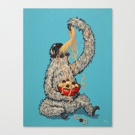 Three Toed Sloth Eating Spaghetti From a Bowl Canvas Print