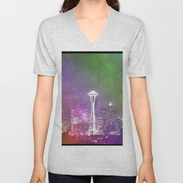 Downtown Seattle Rainbow Bokeh Unisex V-Neck