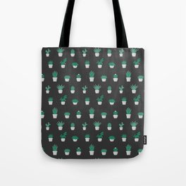 Cacti and Succulents Pattern on dark background Tote Bag