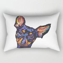 Miniature Pinscher Dog Portrait bright colorful Fun Pop Art Dog Painting by LEA Rectangular Pillow
