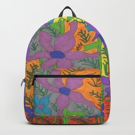 Violets in the Sky Boho Floral Backpack