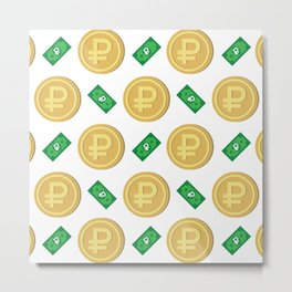 Russian ruble pattern background. Metal Print