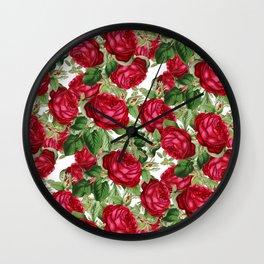Crimson Rose Bower Wall Clock
