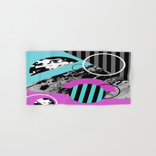Bits N Pieces III - Abstract, geomtric, random, textured, stripes, black, pink, cyan, artwork Hand & Bath Towel