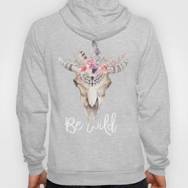 BE WILD Boho bull skull with feathers and flowers Hoody