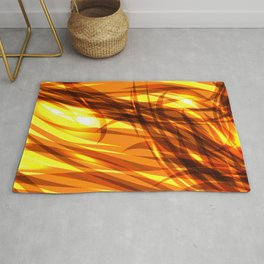 Saturated gold and smooth sparkling lines of metal ribbons on the theme of space and abstraction. Rug