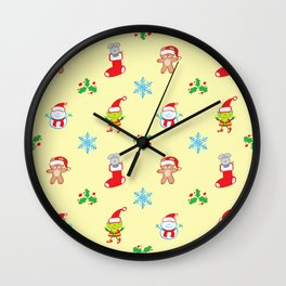 Teddy, mouse elf and snowman Christmas pattern Wall Clock