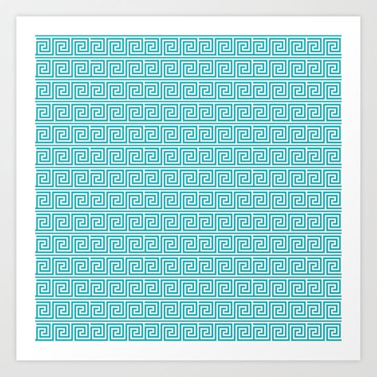 Aqua Greek Key Pattern  Art Print