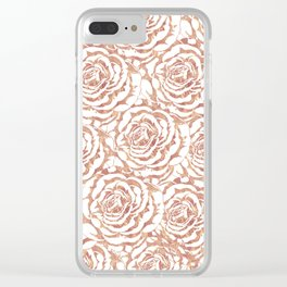 Elegant romantic rose gold roses pattern image Clear iPhone Case