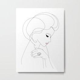 Graceful profile line art  Metal Print