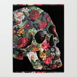 Skull and Flowers Poster