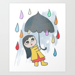 Rainbow of Rain Drops Quirky San Jones Illustration Art Print