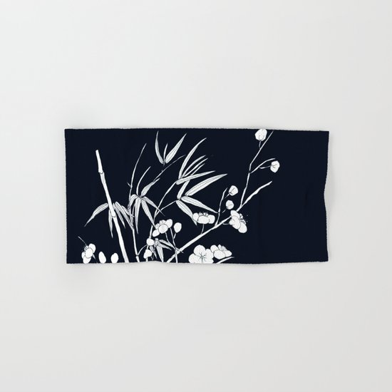 bamboo and plum flower white on black Hand & Bath Towel