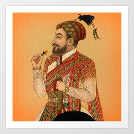 Indian Mughal with Flower Art Print