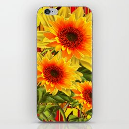 GOLDEN YELLOW KANSAS SUNFLOWERS RED ART iPhone Skin