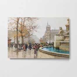 The fountain of Palm, Place du Chatelet by Eugene Galien-Laloue Metal Print