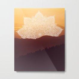 Warm Mountain Mandala Metal Print