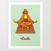 lebowski Art Prints featuring The Lebowski Series: The Dude by Bubblegun