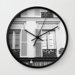 Paris in Black and White, La Boulangerie Wall Clock