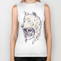 hat Biker Tanks featuring WOLF HAT by Mike Koubou