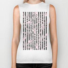 Modern black white stripes blush pink tropical leaves floral Biker Tank