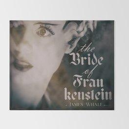 The Bride of Frankenstein, vintage movie poster, Boris Karloff cult horror Throw Blanket