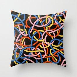 Knots - Memphis Milano Pasta Spaghetti Fork food graphic 80s 90s Kitchen Home Throw Pillow