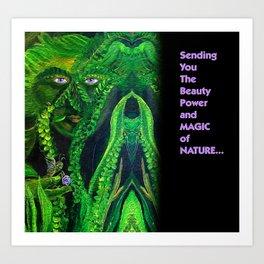 Garden Guardians Gnome Fairy Violet Tetrahedron Art Print