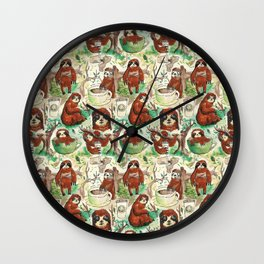 sloth in coffee pattern Wall Clock