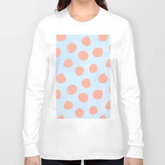 Sweet Life Dots Peach Coral Pink + Blue Raspberry Long Sleeve T-shirt