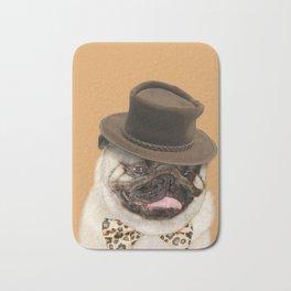 Dog pug with hat Bath Mat