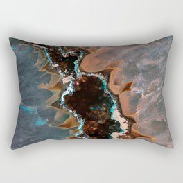 Earth treasures - Blue and orange agate Rectangular Pillow