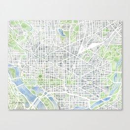 Washington DC Map watercolor gray green blue Canvas Print