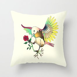 Flying with roses Throw Pillow